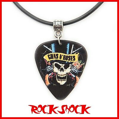 Guns n' Roses Guitar Pick Necklace Pendant Plectrum Rock Heavy Metal Skull Metal