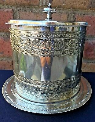 Antique English Silver Biscuit Box Tea Caddy Container