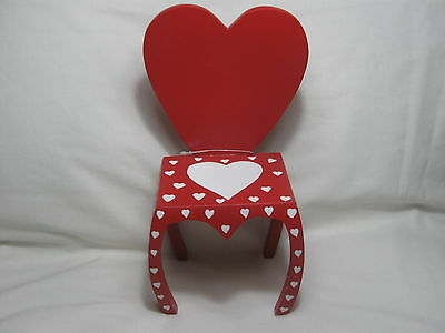 A Wonderful Valentine Wooden Chair To Display Your Dolls Or Bears On.