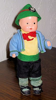 "Circa 1930's Effanbee Boy Doll 7.5"" with 'WHITE HORSE INN' Pin"