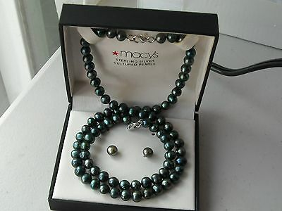 Multi mm Peacock Color Freshwater Cultured Pearl Set Necklace Bracelet Earrings