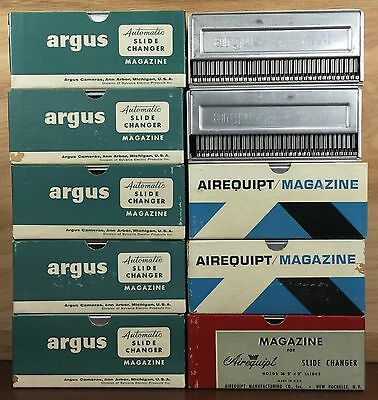 Vintage Argus Airequipt Automatic Slide Changer Magazine Lot of 10 Holds 36 2x2