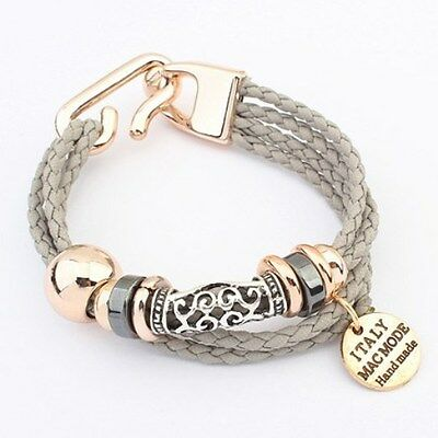 Ladies Rose Gold Plated and Grey Rope Bracelet - Unique Design = Perfect Gift