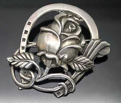 Magical Vintage Detailed Horseshoe With Rose Sterling Silver Good Luck Brooch