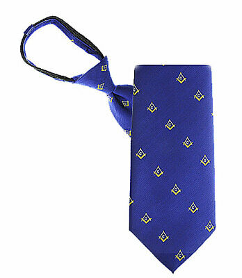 MASONIC ZIPPER TIE - ROYAL with GOLD ACCENTS - WOVEN POLY FABRIC - MASONIC LOGOS