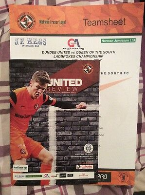 Dundee United v Queen Of The South Programme And Team sheet 14/1/17