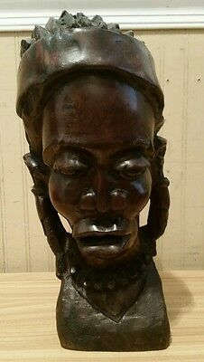 Large & Heavy Ebony Wood Hand Carved African Head Sculpture Statue ~ RARE