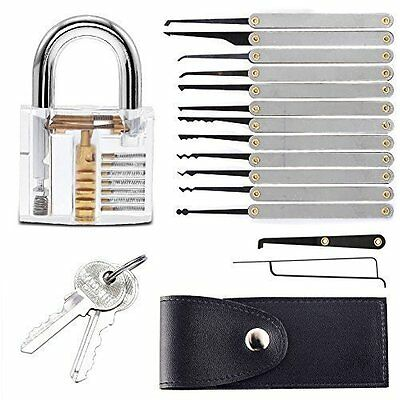 Professional Lock Pick Set With Transparent Padlock and Carrying Case
