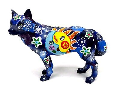 Call of the Wolf by Westland Giftware LAS LUCES Wolf Figurine Sun Moon Flowers