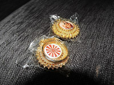8 x Brahma Kumaris gold colour round patterned metal keyrings with emblem and pi
