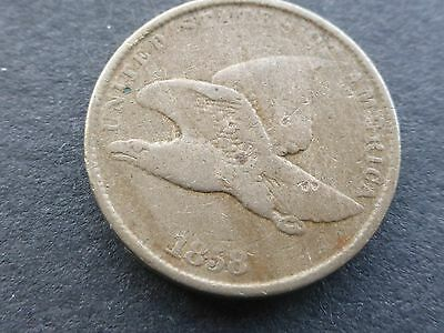United States Eagle one cent coin 1858 rare small letters good grade