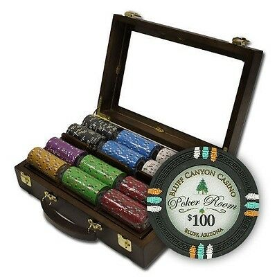 "300 ct ""Bluff Canyon"" 13.5g Poker Chips Set in Walnut Wooden Case See Thru Lid"