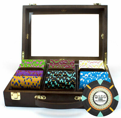 "300 ct ""The Mint"" 13.5g Poker Chips Set in Walnut Wooden Case See Thru Lid"