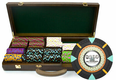 "500 ct ""The Mint"" 13.5g Poker Chips Set in Walnut Wooden Case"
