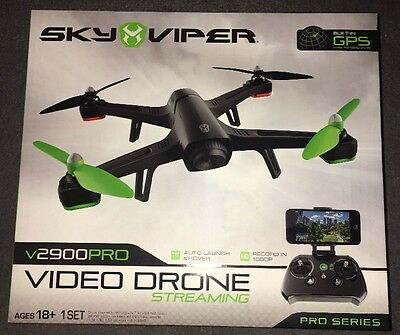 Sky Viper V2900 Pro Video Streaming Drone 1080P GPS Quadcopter Brand New!