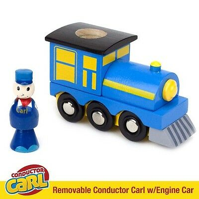 Conductor Carl Engine Car & Removable Character Compatible w/ Wood Train Sets