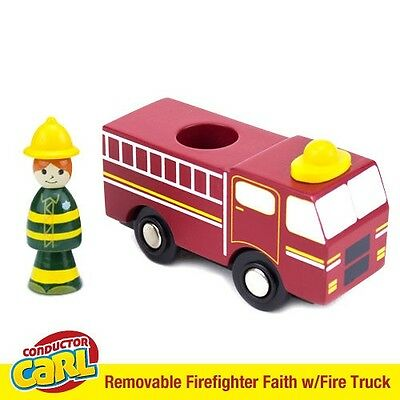 Firefighter Faith Fire Truck & Removable Character Compatible w/ Wood Train Sets