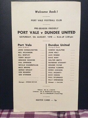 Port Vale v Dundee United Friendly 5th August 1978