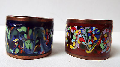 Pair Of Vintage Copper And Cloisonne Enamel Round Napkin Rings