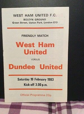 West Ham United v Dundee United Friendly 19th February 1983