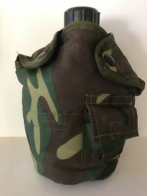 Plastic Drinking Canteen With Woodland Camouflage Cover