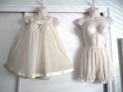 Vintage Radcliffe Buttercream Babydoll Nightgown & Panties - Large