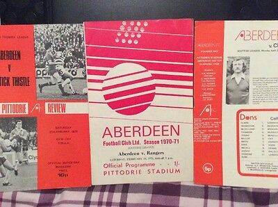 3 x Aberdeen Home Programmes Glasgow Rangers,Partick Thistle And Celtic
