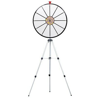 "24"" White Dry Erase Prize Wheel w/ 39"" Floor Stand & 12 Prize Slots Game Promo"