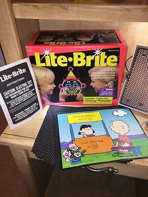 Vintage Original 1994 Lite Light Brite Bright Pegs Light Up Toy Game Box Papers