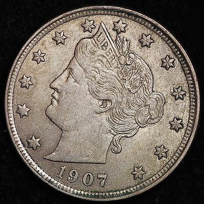AU+ UNC 1907 Liberty V Nickel R2HM