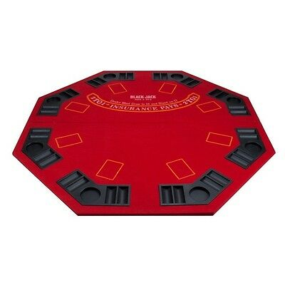 Red Folding Poker & Blackjack Table Top w/ Cup Chip Holders for Casino Gaming