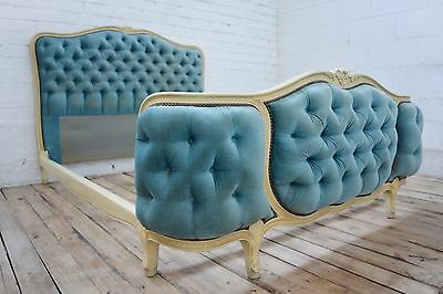 Antique French Louis XV style painted shabby chic Decorative double bed