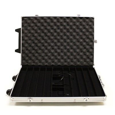 1000 ct Capacity Rolling Aluminum Metal Case for Poker Set (Chips Not Included)