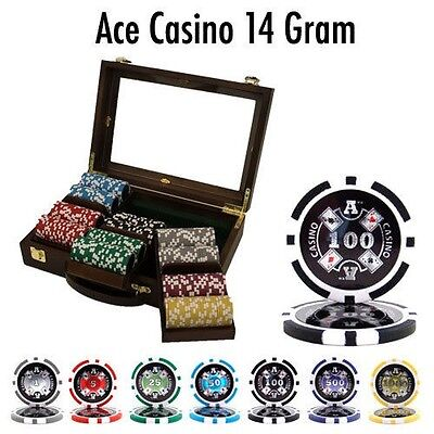 300 Ct Ace Casino 14g Poker Chips Set in Walnut Wooden Case See Thru Lid