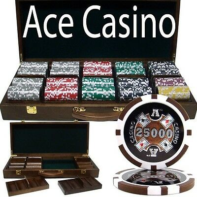 500 Ct Ace Casino 14g Casino Grade Poker Chips Cards Set in Walnut Wooden Case