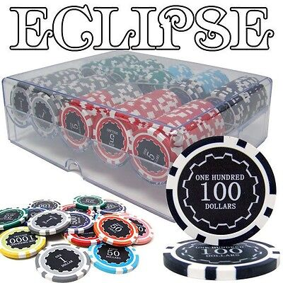 200 Ct Eclipse 14 Gram Casino Poker Chips + Acrylic Chip Tray with Lid