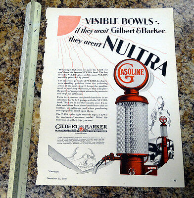 Gilbert & Barker T176 Visible Gas Pump Color Magazine Ad - 93 - FREE SHIPPING