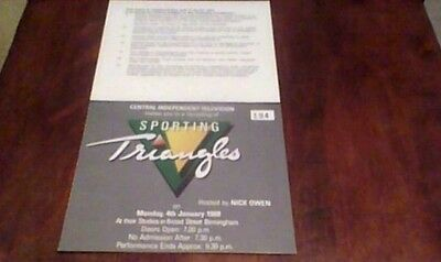 Sporting Triangles Nick Owen Central Independent Television Audience Ticket 1988