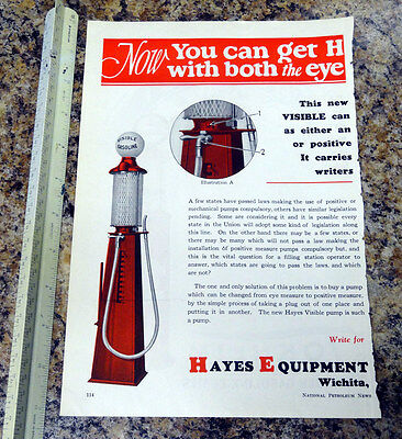 Hayes Equipment Co Visible Gas Pump Color Magazine Ad - 114 - FREE SHIPPING