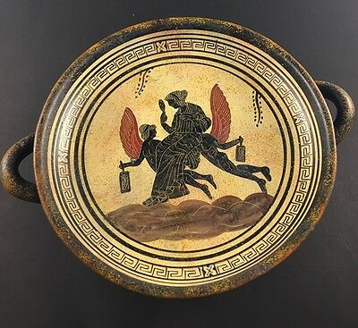 Footed Greek Pottery Plate Exact Museum Copy 470 B.C