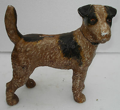 Large Cast Iron Airedale  Terrier Dog Bank Doorstop Unsigned Hubley