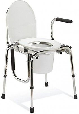 Drop Arm bedside Commode, Comes standard with pail, lids and splash guard
