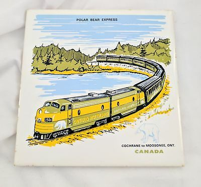 Vtg Tile Real Orig Polar Bear Express Train Canada Railway Northland Express