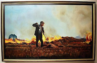 Large Original Oil Painting On Canvas Signed & Framed Paul J. Wright