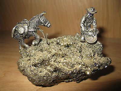 """Prospector and Mule Figurine - Pyrite Mineral Rock Pewter 3"""" Long"""