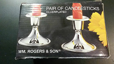 WM Rogers & Son Silver Plated Candlesticks **New in Box** Candle holders