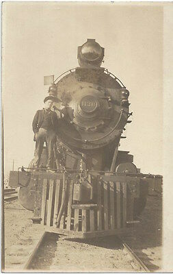 1912 Great Falls, Montana - REAL PHOTO Railroad Locomotive Close Up