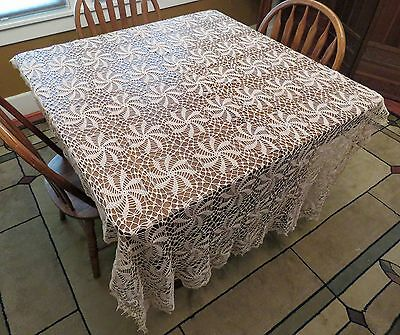 LARGE Antique Delicate Beige Swirl Crochet Lace Tablecloth or Bedspread Handmade