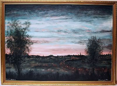 Original Oil Painting On Board Framed D.Townsend 'Sunset Impression' 1994