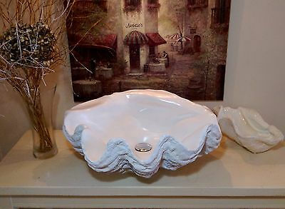 Sculptured Giant Clam Shell Bathroom Sink Wash Basin Counter Top Fittings Inc.